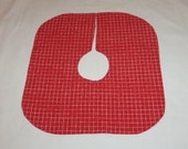 Quilted Tree Skirt, Handmade, 15x15 Inches, Red Checkered, Small Mini Little, Christmas, Table Desk Top, Machine Quilted