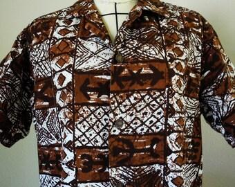 Vintage Hawaiian shirt, 1960s, Andrade Resort Shops, batik styled print, dark brown,  white, vintage size Medium.