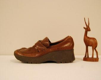 Vintage Shoes Brown Platform Wedge