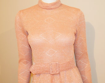 Vintage Dress Terracotta with Silver Sparkle