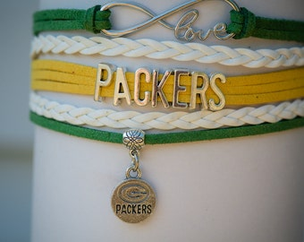 Green Bay Packers Football Handmade Infinity Bracelet