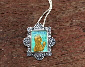 Virgin Mary Pendant, Icon Religios mother Mary Jewelry, Glass Intaglio Silver Necklace