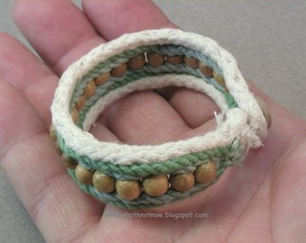 green olive wood bead cuff bracelet one button cuff beaded child size bracelet 3800