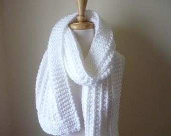 """Extra Long Scarf Knit Scarf Warm Winter Scarf Women's Scarf Classic White 9"""" x 72"""" - Reversible Pattern - Direct Checkout - Ready to Ship"""