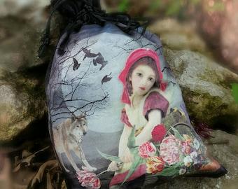 Little Red Riding Hood Purse - Red Riding Hood Bag - Wolf Purse - Full Moon Bag - Tarot Pouch - Fairy Tale Handbag - Red Riding Hood Art