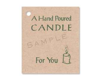 100 HAND POURED CANDLE Hang Tags -100 Color Strings Included -  Price Tags