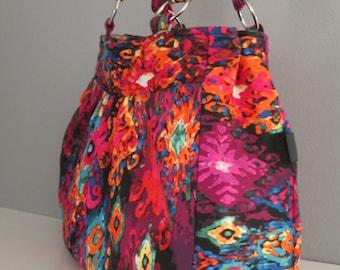Handmade purse - large shoulder bag in colorful ikat print