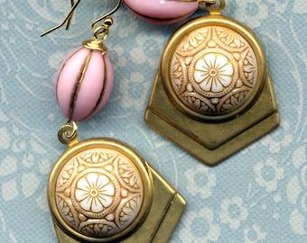 Statement Art Deco Earrings, Vintage Glass Earrings, 18 K Gold Filled Ear Wire design, Beige Pink Gold Earrings by annaart72
