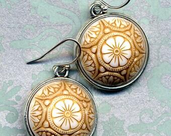 Art Deco Earrings, Vintage Glass Earrings, 925 silver Earrings, Beige White floral Earrings , petite earrings handmade jewelry by annaart72