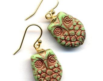 Owl Earrings, 18 K Gold Filled Ear Wire Olive Green Owls with Cooper Inlay Earrings, Woodland Best Earrings, Handmade Jewelry by AnnaArt72