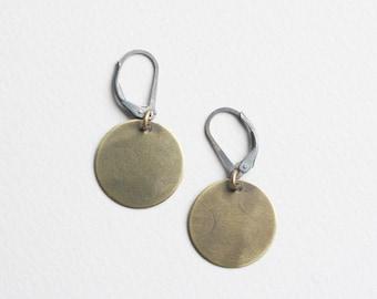 brass circle earrings, brass circles, brass disk, small brass circles, dangle