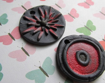 Two Pendants in Red, Handcrafted Beads, Ceramic Beads, Pendant, Pendants, Art Bead, Classic Bead, tracee, stoneware
