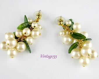 Pearl Cluster Leaf Earrings Pieced