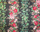 Joan Kessler Concord Fabrics Floral Stripe Fabric Vintage Rose Fabric Tulip Fabric Flower Fabric Black Pink Red Metallic Gold Fabric 2.25 Yd