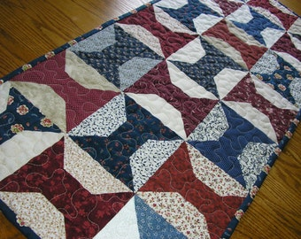 Quilted Table Runner, Navy and Burgundy Spool Blocks, 17 1/2 x 39 1/2 inches