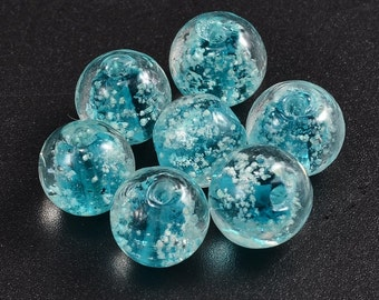 Glow in the dark beads - Sky Blue/Teal - 50 pieces - 8mm