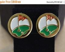 On sale Pretty Vintage Enamel Golf Clip Earrings, Gold tone, Red, Green, White (C1)