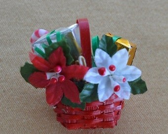 On sale Adorable Vintage Red Wicker Christmas Basket Brooch, Poinsettia, Presents, Candy Cane (M2)