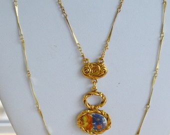 "On sale Delicate Vintage Floral Porcelain Pendant Multi-Strand Necklace, Gold tone, 18"", 24"", Victorian style (E1)"