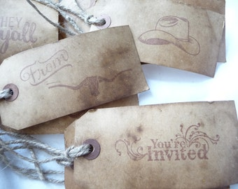 Western Hang Tags, 10 Primitive Tags, coffee stained, large hang tags, gift tags, wedding, unique tags, handmade, western theme, cowboy