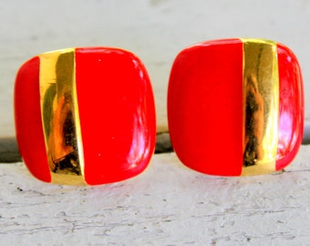 Sarah Coventry Clip On 1970s Gold Tone Red Square Signed Vintage