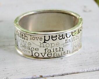 BRIGHTON Keynote Bracelet Peace Love Faith Silver Hinged Chunky Signed Vintage