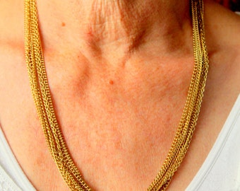 Vintage Multi Strand Necklace Gold Chain Layering