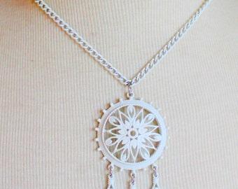 Vintage Necklace White 1960s Tassel Filigree MOD Statement