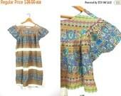 Frock Dress Hippie Boho Midi 60s Ethnic Tent Bohemian 70s Floral Cotton Tunic Slip Over Open Fit Olive Green Blue Tribal Sundress Louannes