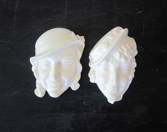 vintage white ceramic Mardi Gras masks Small Women Woman Faces Heads Wall Hanging 3D Female Wall Art