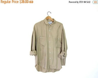 Oversized Slouchy Beige Blouse 90s SILK Pocket Shirt Vintage Long Sleeve Button Up Top Minimalist Blouse Loose Fitting Mens Large XL