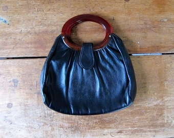 60s Leather Purse Amber Lucite Handle Black Leather Handbag MOD Leather Clutch Women's Vintage Hand Purse Boho Womens MOD Leather Bag