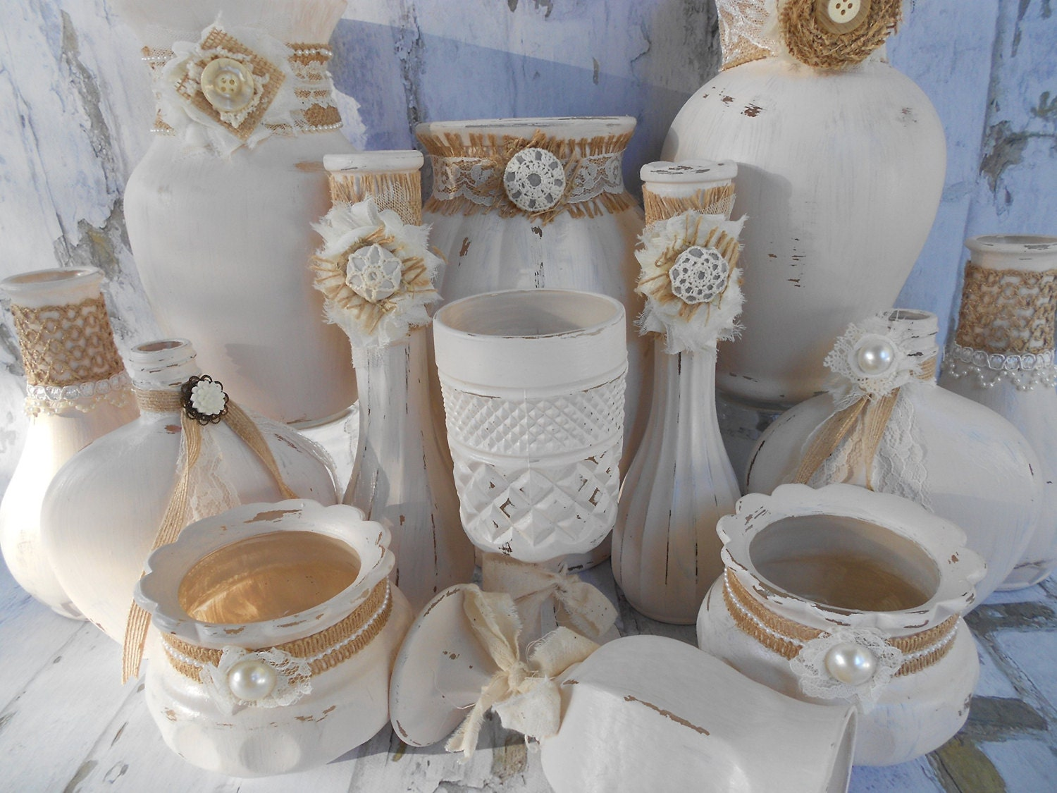 ivory vases painted vases shabby chic vases wedding. Black Bedroom Furniture Sets. Home Design Ideas