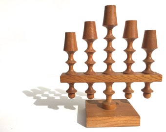 Mid Century Russian Candle holder ~  Eames era wooden candelabra~ Holds 6 taper candles