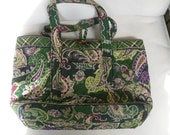 Vintage Vera Bradley Handbag, Chelsea Green Print, Paisely and Plaid, Straps, Authentic, Tags, Vera Bradley Purse, Vera Bradley Prints,