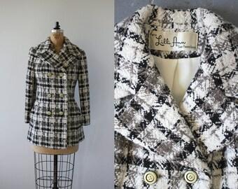 vintage 1960s Lilli Ann coat / 60s Lilli Ann jacket / 60s cream plaid jacket / 60s double breasted coat / 60s designer coat / medium large