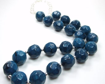 Memphis Blues Collection - Blue Sapphire Beaded Necklace - Denim Nugget Statement Silver Accent Chunky Necklace