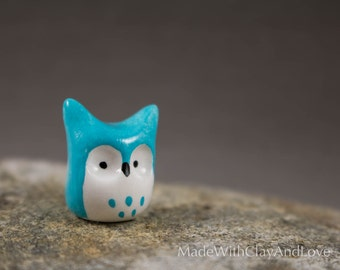 Little Blue Horned Owl - Miniature Polymer Clay Terrarium Figurine Animal - Hand Sculpted