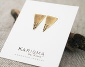 Brass Triangle Posts, Textured. Geometric, Earrings