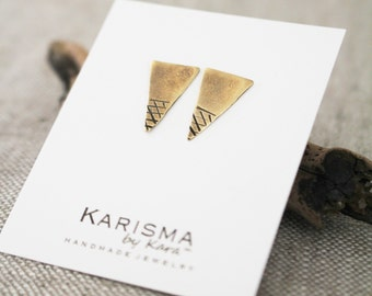 Brass Triangle Posts, Textured. Geometric, Earrings