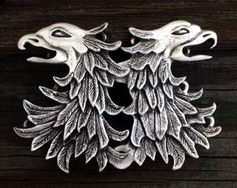 Double Eagle Head  / Gryphon Pewter Cloak Clasp