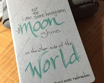 Hand lettered Moleskine journal with quote