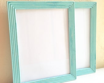 Pair of Matching 5x7 Shabby Chic Turquoise Wooden Picture Frames Wood 2 Two
