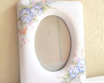 Vintage Porcelain Picture Frame with Beautiful Flowers Oval Opening 5x7