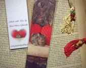 Laminated Princess Daisy Sweetheart Tabby Kitty Cat Kitten Valentine Photo Bookmark w/ Cloisonne Fish Beads