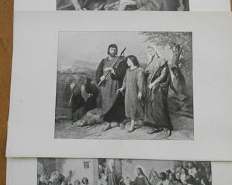 Bible story Illustrations, Set of 3 1906 Antique prints, Jesus, Jerusalem, Fishermen, vintage bible art Decor