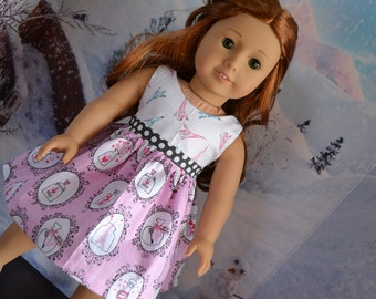 18 inch Doll Clothes - Trip to Paris Colorblock Dress - PINK WHITE GRAY- Eiffel Tower - fits American Girl