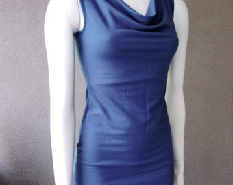 Cowl top, sleeveless cowl top, cowl halter top, organic cotton tee, handmade top, made in Canada organic clothes