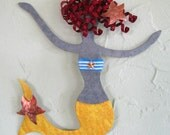 Mermaid art metal wall art sculpture - Rosie - beach house coastal ocean wall decor yellow blonde  bathroom kids