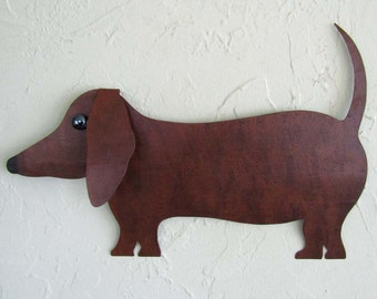 Metal Wall Art Dachshund Wall Sculpture Animal Decor Indoor Outdoor Wall Art Recycled Metal Sculpture 11 x 16 Brown